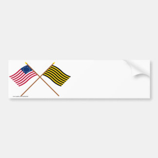 Crossed Betsy Ross and Brigantine Reprisal Flags Bumper Stickers
