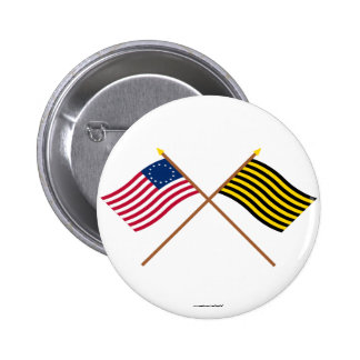 Crossed Betsy Ross and Brigantine Reprisal Flags 2 Inch Round Button