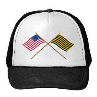Crossed Betsy Ross and Brigantine Reprisal Flags Trucker Hat