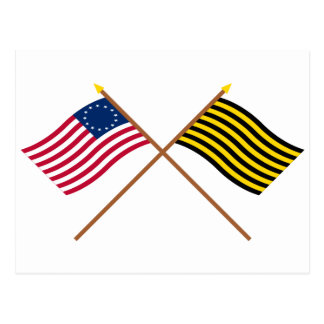 Crossed Betsy Ross and Brigantine Reprisal Flags Postcard