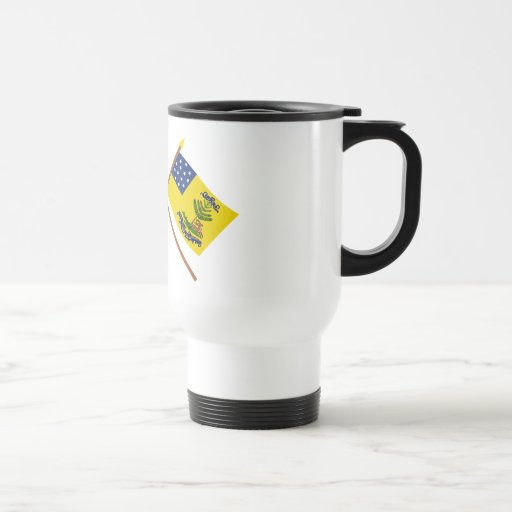 Crossed Betsy Ross and Bucks of America Flags 15 Oz Stainless Steel Travel Mug