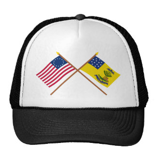 Crossed Betsy Ross and Bucks of America Flags Trucker Hats