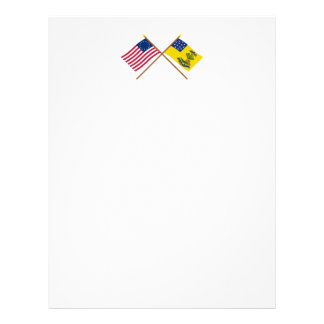 Crossed Betsy Ross and Bucks of America Flags Letterhead