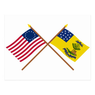 Crossed Betsy Ross and Bucks of America Flags Postcard