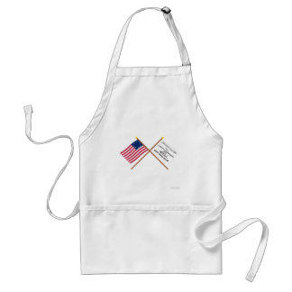 Crossed Betsy Ross and Culpeper Flags Aprons