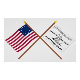 Crossed Betsy Ross and Culpeper Flags Poster
