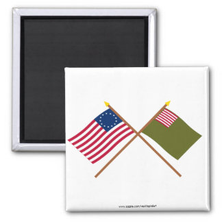 Crossed Betsy Ross and Delaware Militia Flags Fridge Magnets