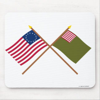 Crossed Betsy Ross and Delaware Militia Flags Mouse Pad