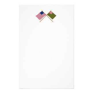Crossed Betsy Ross and Delaware Militia Flags Stationery Design