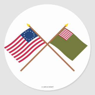 Crossed Betsy Ross and Delaware Militia Flags Round Stickers