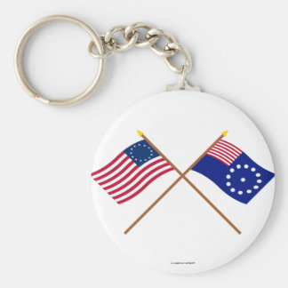 Crossed Betsy Ross and Easton Flags Basic Round Button Keychain