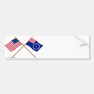 Crossed Betsy Ross and Easton Flags Bumper Sticker