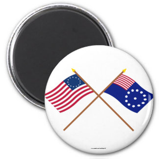 Crossed Betsy Ross and Easton Flags Fridge Magnet