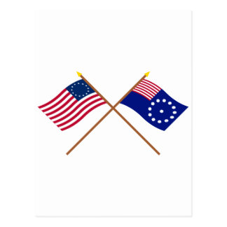 Crossed Betsy Ross and Easton Flags Postcard
