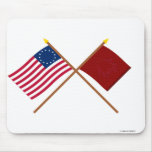Crossed Betsy Ross and Eutaw Flags Mousepads
