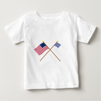 Crossed Betsy Ross and Forster Flags Baby T-Shirt