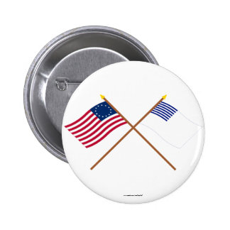 Crossed Betsy Ross and Forster Flags 2 Inch Round Button