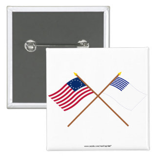 Crossed Betsy Ross and Forster Flags 2 Inch Square Button