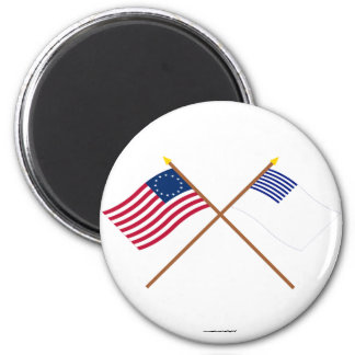 Crossed Betsy Ross and Forster Flags 2 Inch Round Magnet