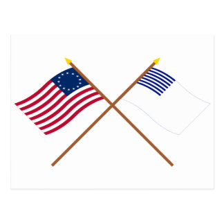 Crossed Betsy Ross and Forster Flags Postcard