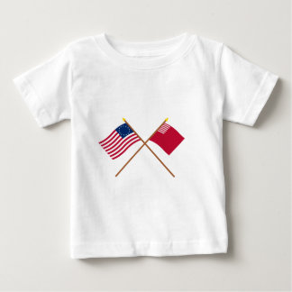 Crossed Betsy Ross and Forster-Knight Flags Baby T-Shirt