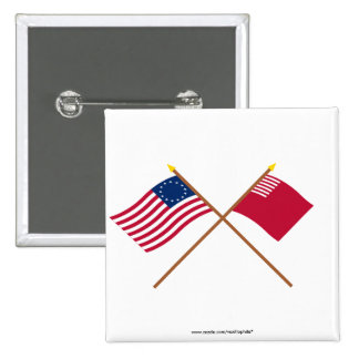 Crossed Betsy Ross and Forster-Knight Flags 2 Inch Square Button