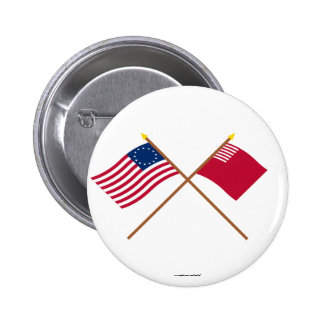 Crossed Betsy Ross and Forster-Knight Flags 2 Inch Round Button
