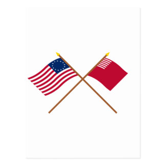 Crossed Betsy Ross and Forster-Knight Flags Postcard