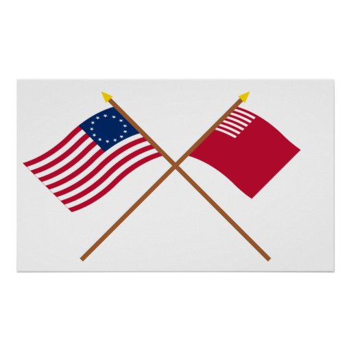 Crossed Betsy Ross and Forster-Knight Flags Poster