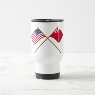 Crossed Betsy Ross and Forster-Knight Flags Travel Mug