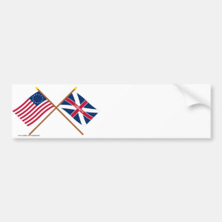 Crossed Betsy Ross and Fort Johnson Flags Bumper Sticker