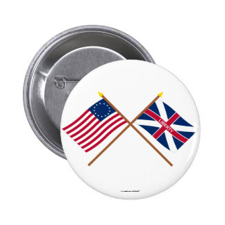 Crossed Betsy Ross and Fort Johnson Flags 2 Inch Round Button