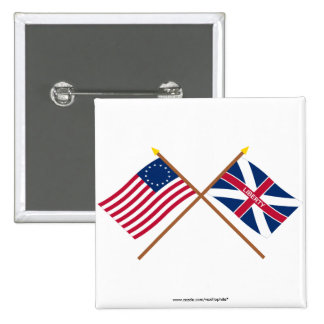 Crossed Betsy Ross and Fort Johnson Flags 2 Inch Square Button