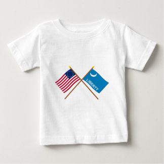 Crossed Betsy Ross and Fort Moultrie Flags Baby T-Shirt