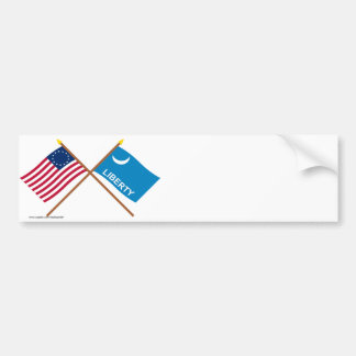 Crossed Betsy Ross and Fort Moultrie Flags Bumper Sticker