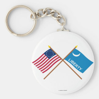 Crossed Betsy Ross and Fort Moultrie Flags Keychain