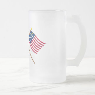 Crossed Betsy Ross and French Alliance Flags Frosted Glass Beer Mug