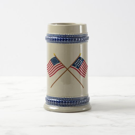 Crossed Betsy Ross and French Alliance Flags 18 Oz Beer Stein