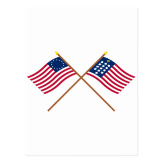 Crossed Betsy Ross and French Alliance Flags Postcard