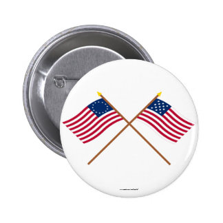 Crossed Betsy Ross and Frigate Alliance Flags 2 Inch Round Button