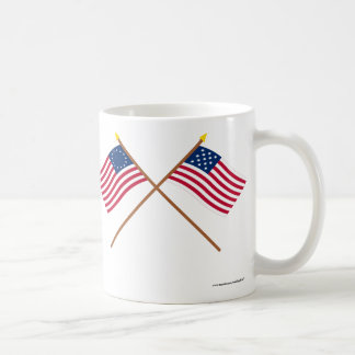 Crossed Betsy Ross and Frigate Alliance Flags Coffee Mug