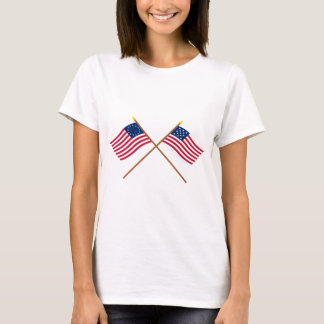 Crossed Betsy Ross and Frigate Alliance Flags T-Shirt