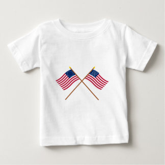 Crossed Betsy Ross and Frigate Alliance Flags T Shirt