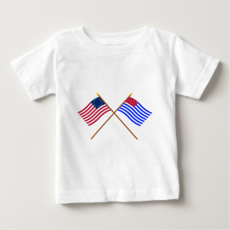 Crossed Betsy Ross and Ft Mercer Flags Baby T-Shirt