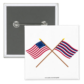 Crossed Betsy Ross and Ft Mifflin Flags 2 Inch Square Button