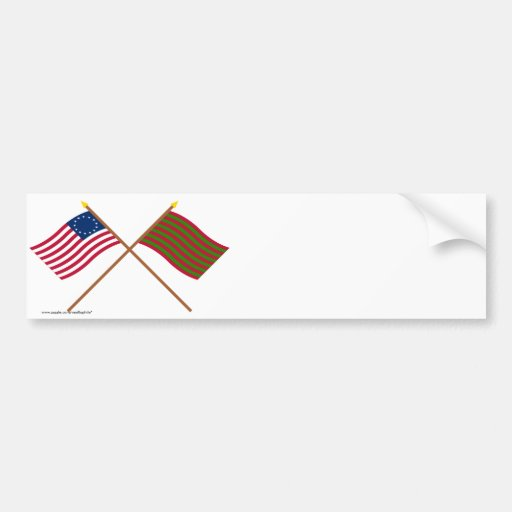 Crossed Betsy Ross and Ft Sackville Flags Car Bumper Sticker