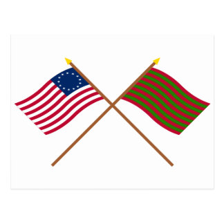 Crossed Betsy Ross and Ft Sackville Flags Postcard