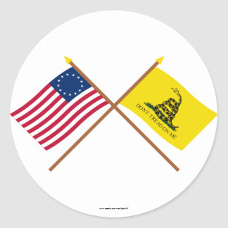 Crossed Betsy Ross and Gadsden Flags Classic Round Sticker