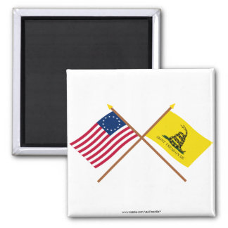 Crossed Betsy Ross and Gadsden Flags Fridge Magnet