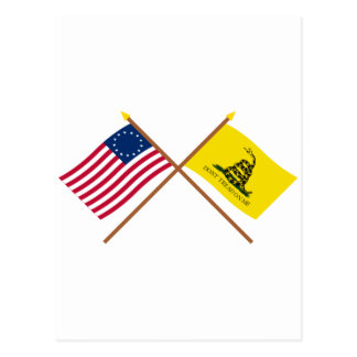 Crossed Betsy Ross and Gadsden Flags Postcard